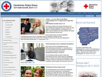 Screenshot der Website des DRK - Schwesternschaft Bonn e.V.
