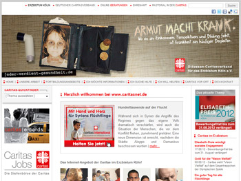 Screenshot der Website der Caritas Köln