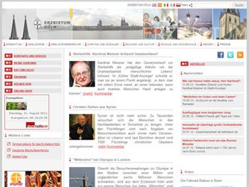 Screenshot der Website vom Erzbistum Köln